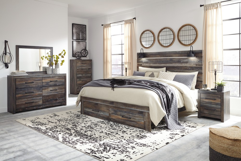 Drystan - King Panel Bed with Storage with Mirrored Dresser and 2 Nightstands