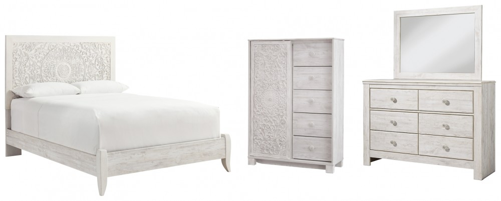 Paxberry - Queen Panel Bed with Mirrored Dresser and Chest