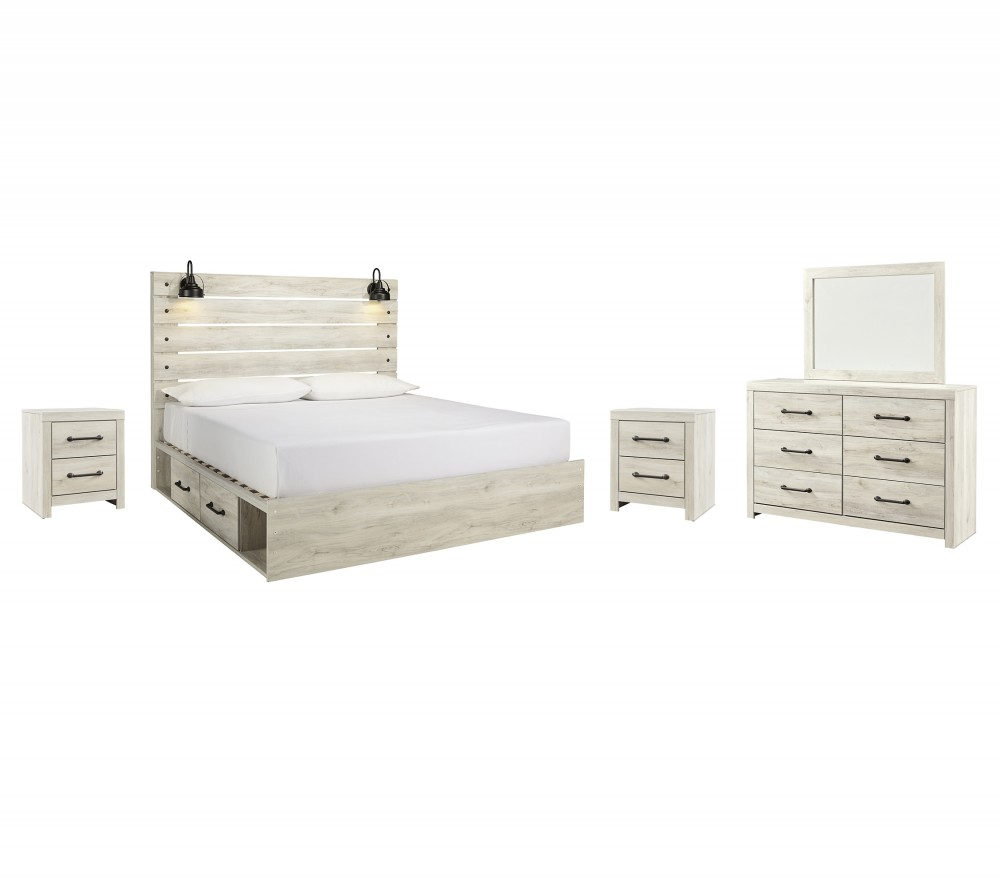 Cambeck - King Panel Bed with 2 Storage Drawers with Mirrored Dresser and 2 Nightstands