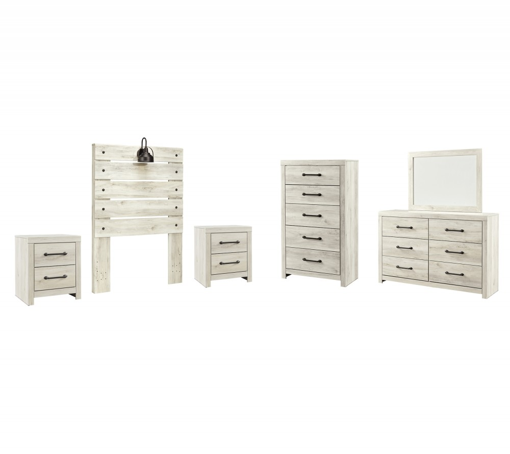 Cambeck - Twin Panel Headboard with Mirrored Dresser, Chest and 2 Nightstands