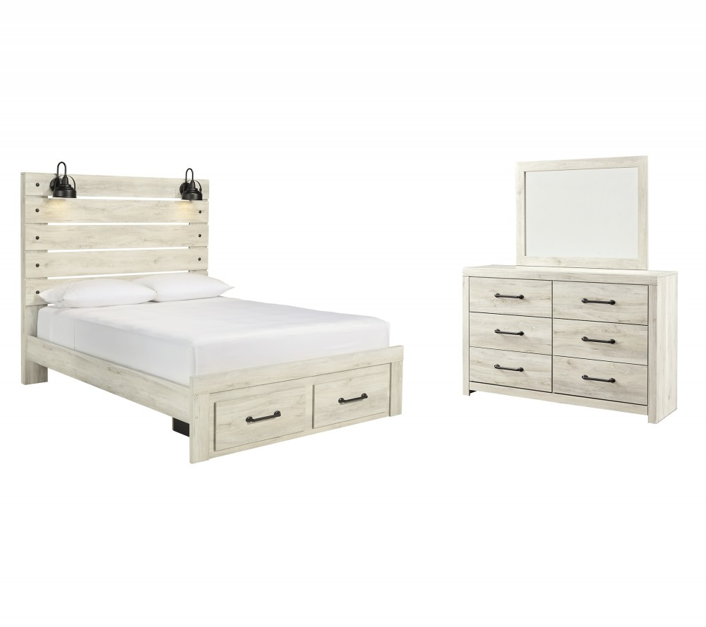 Cambeck - Queen Panel Bed with 2 Storage Drawers with Mirrored Dresser