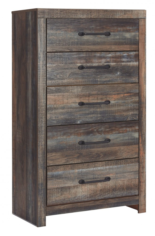 Drystan - King Panel Bed with 4 Storage Drawers with Mirrored Dresser and Chest