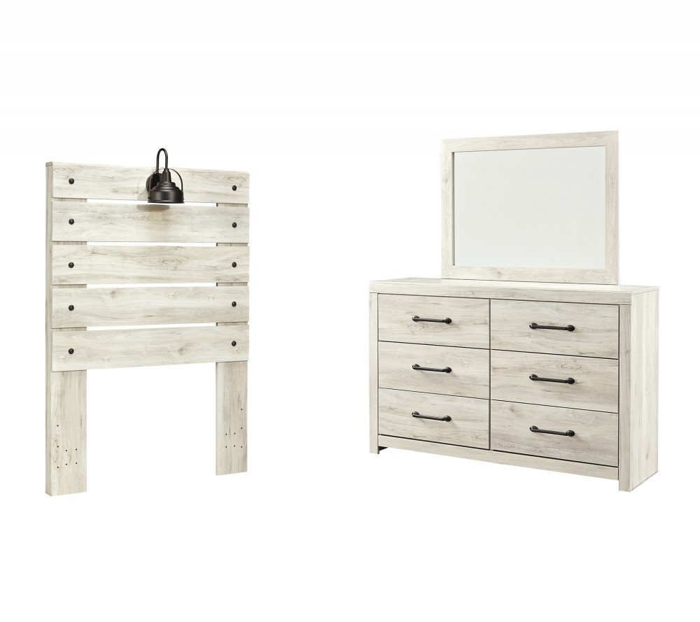Cambeck - Twin Panel Headboard with Mirrored Dresser