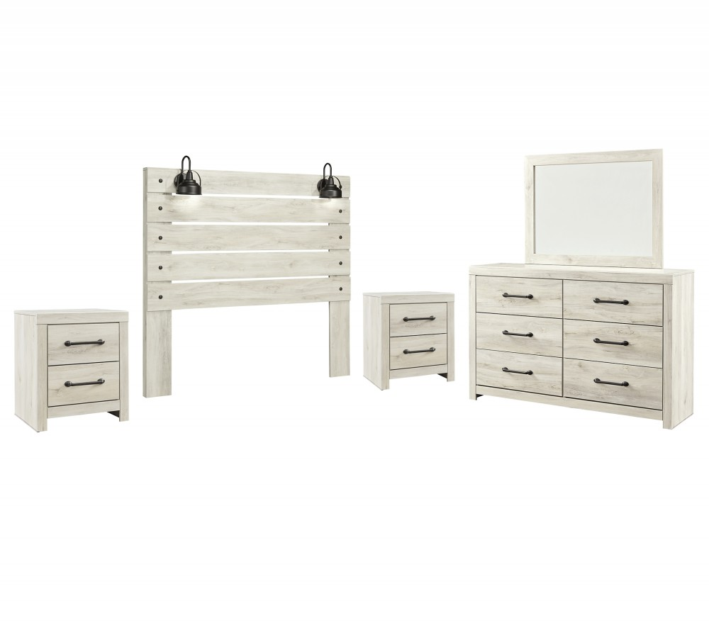 Cambeck - Queen Panel Headboard with Mirrored Dresser and 2 Nightstands
