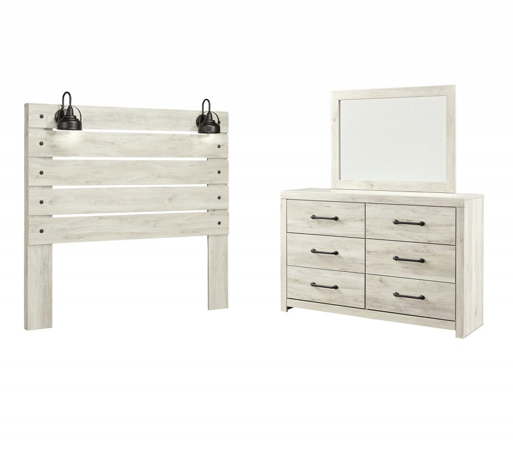 Cambeck - Queen Panel Headboard Bed with Mirrored Dresser