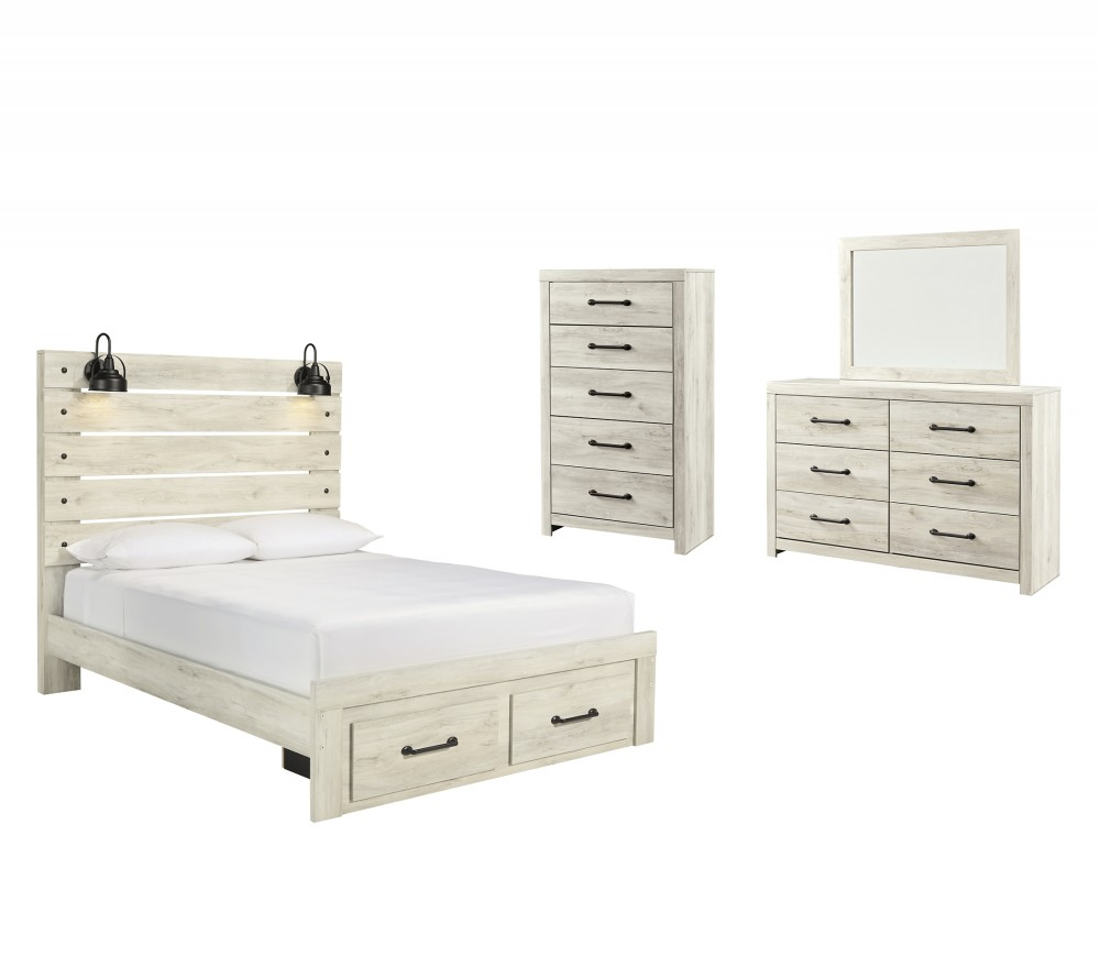 Cambeck - Queen Panel Bed with 2 Storage Drawers with Mirrored Dresser and Chest