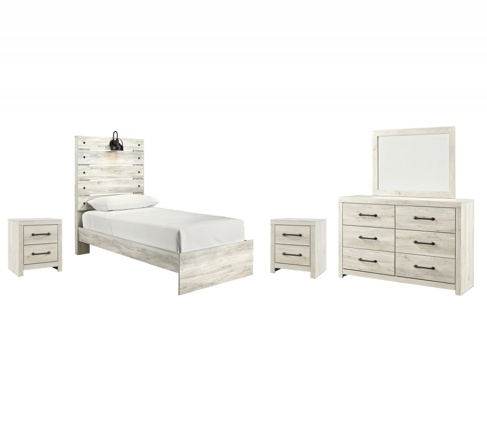 Cambeck - Twin Panel Bed with Mirrored Dresser and 2 Nightstands