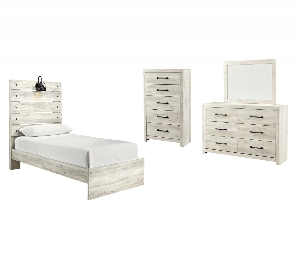 Cambeck - Twin Panel Bed with Mirrored Dresser and Chest