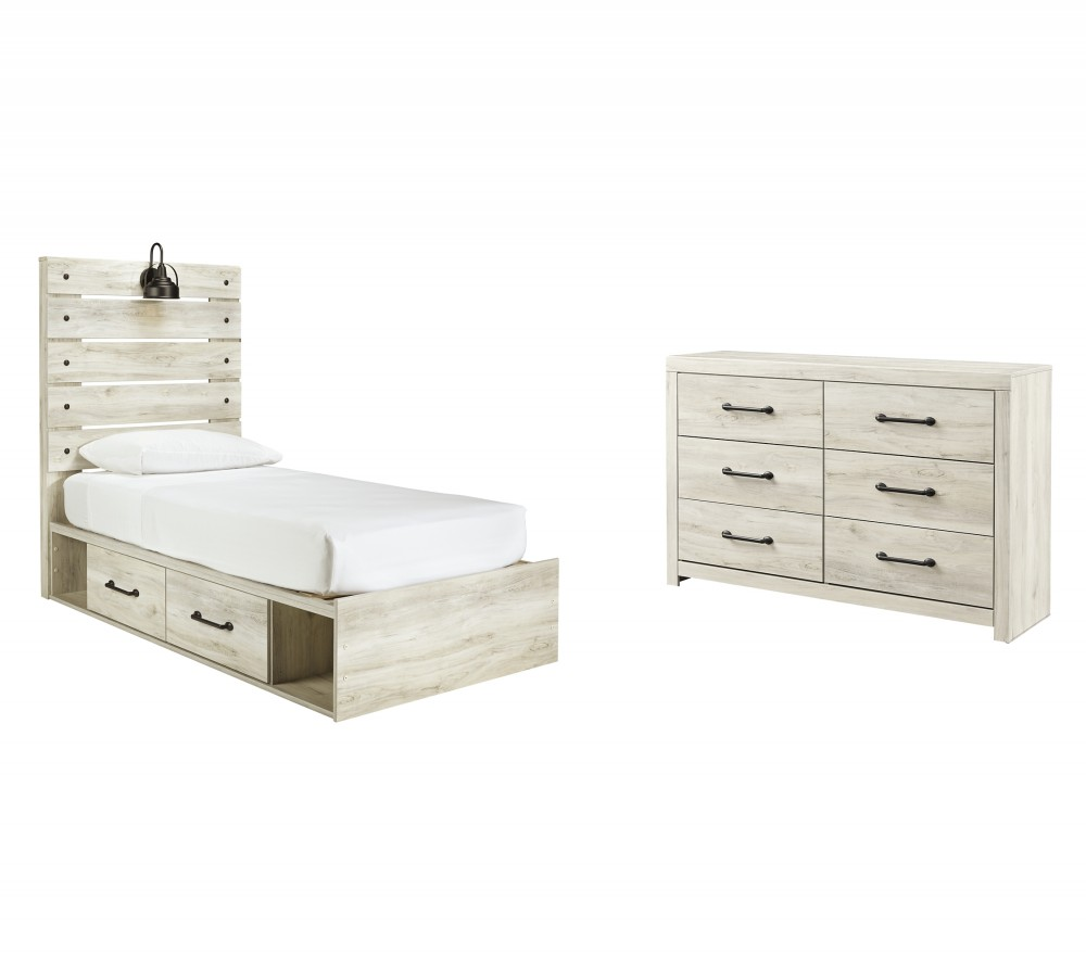 Cambeck - Twin Panel Bed with 4 Storage Drawers with Dresser