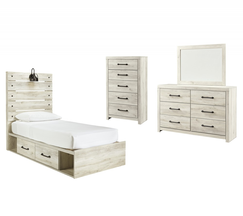 Cambeck - Twin Panel Bed with 2 Storage Drawers with Mirrored Dresser and Chest