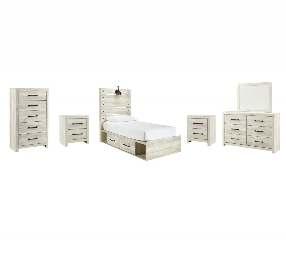 Cambeck - Twin Panel Bed with 2 Storage Drawers with Mirrored Dresser, Chest and 2 Nightstands
