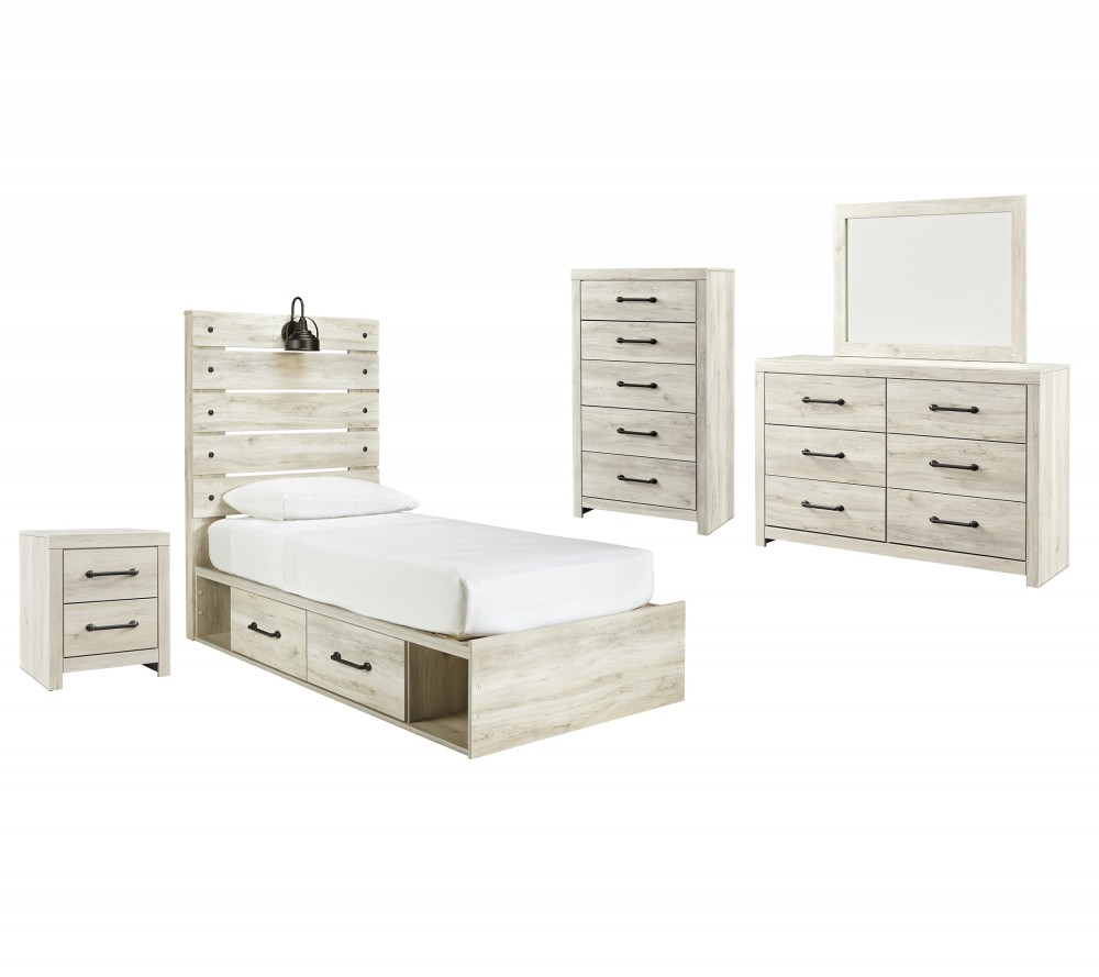 Cambeck - Twin Panel Bed with 2 Storage Drawers with Mirrored Dresser, Chest and Nightstand