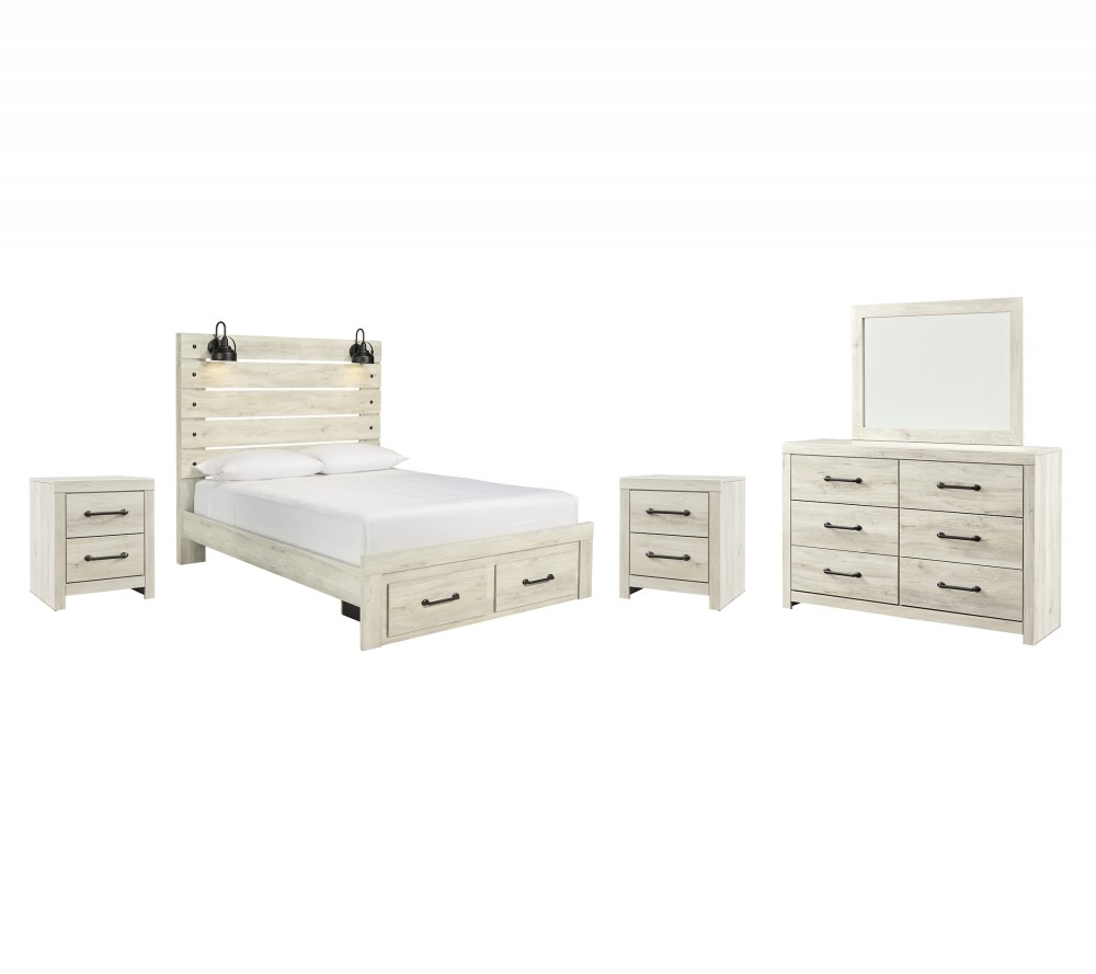 Cambeck - Queen Panel Bed with 2 Storage Drawers with Mirrored Dresser and 2 Nightstands