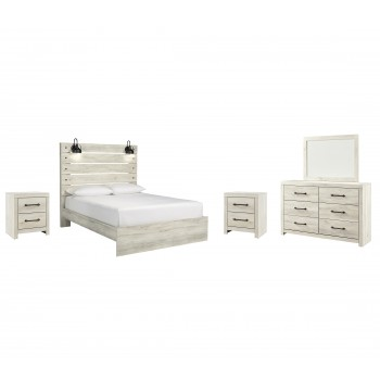 Cambeck - Queen Panel Bed with Mirrored Dresser and 2 Nightstands