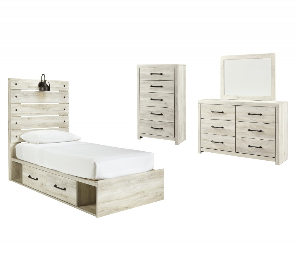 Cambeck - Twin Panel Bed with 4 Storage Drawers with Mirrored Dresser and Chest