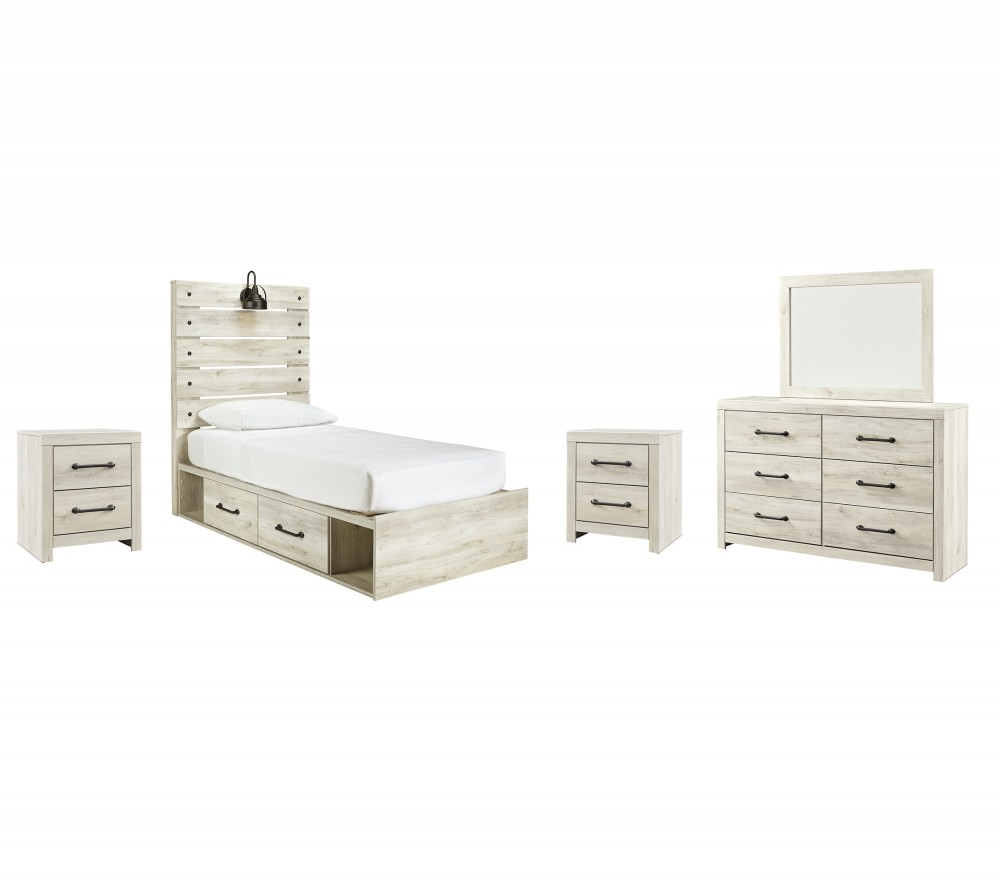 Cambeck - Twin Panel Bed with 4 Storage Drawers with Mirrored Dresser and 2 Nightstands