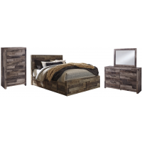 Derekson - Queen Panel Bed with 6 Storage Drawers with Mirrored Dresser and Chest
