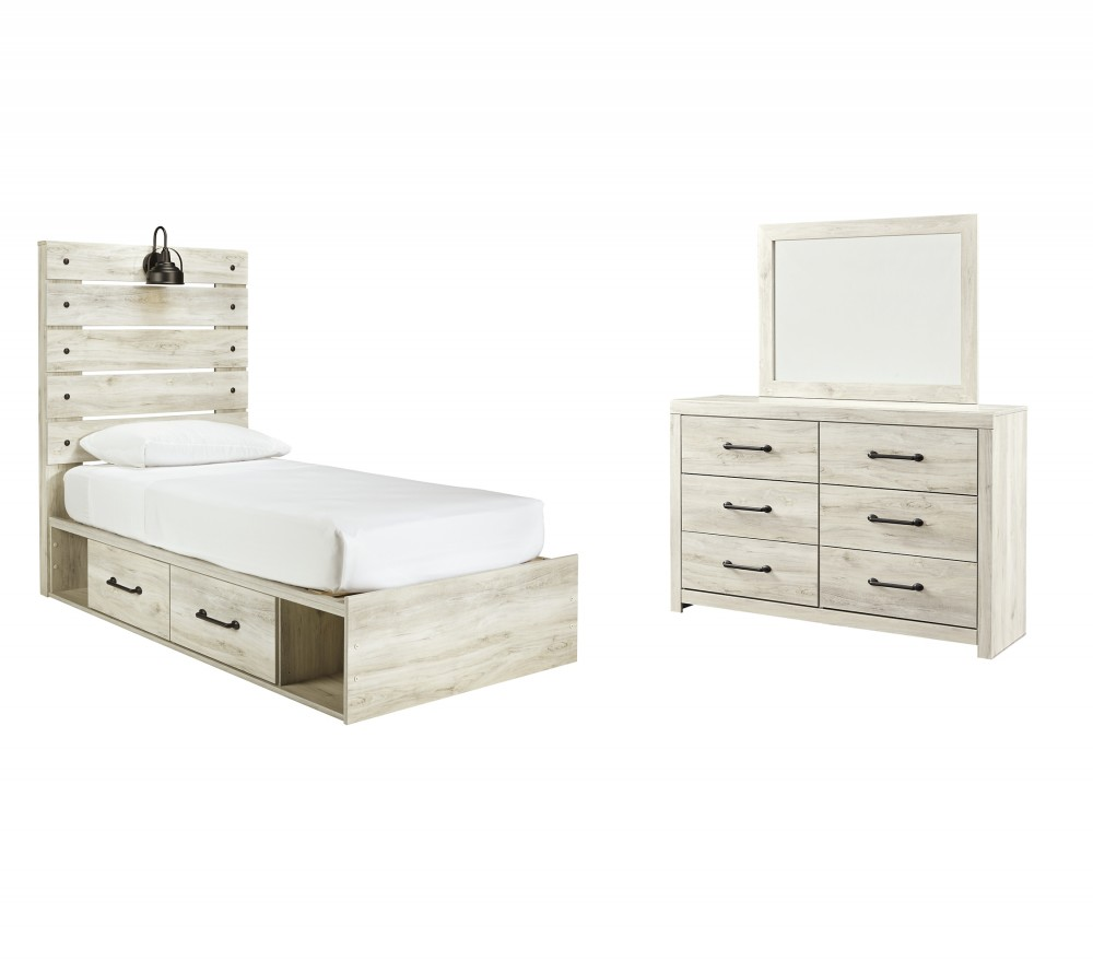 Cambeck - Twin Panel Bed with 4 Storage Drawers with Mirrored Dresser