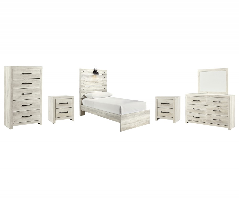 Cambeck - Twin Panel Bed with Mirrored Dresser, Chest and 2 Nightstands