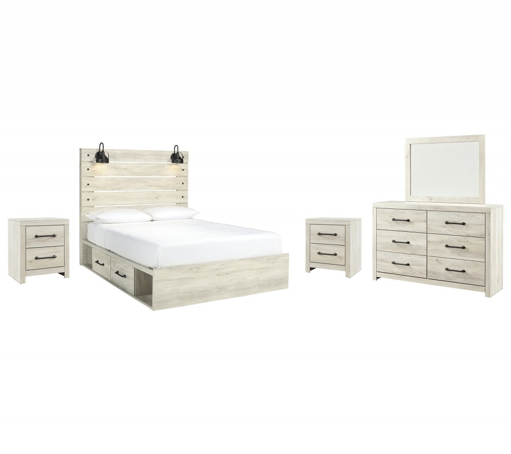 Cambeck - Queen Panel Bed with 4 Storage Drawers with Mirrored Dresser and 2 Nightstands