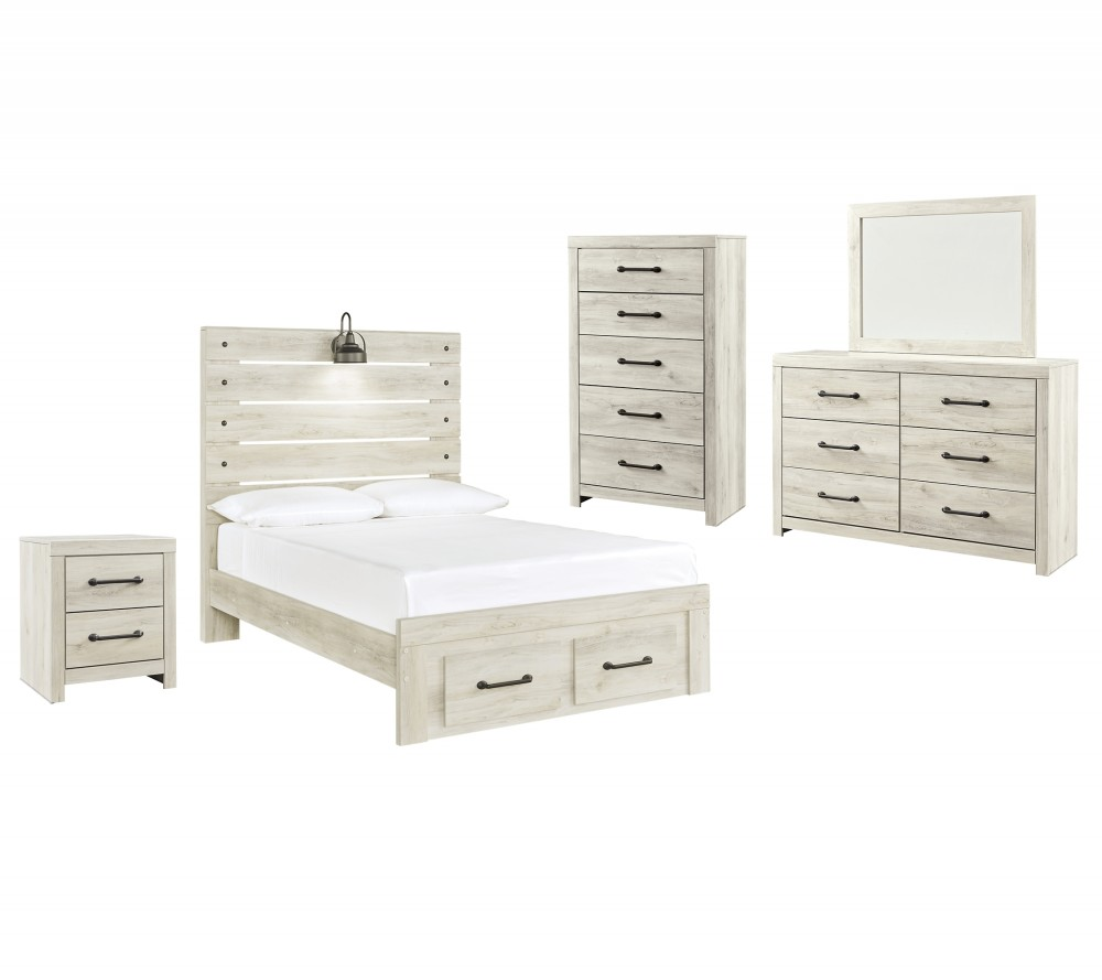Cambeck - Full Panel Bed with 2 Storage Drawers with Mirrored Dresser, Chest and Nightstand