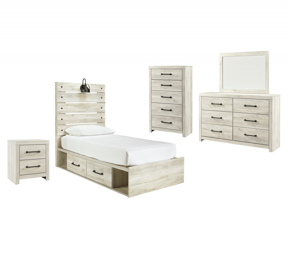 Cambeck - Twin Panel Bed with 4 Storage Drawers with Mirrored Dresser, Chest and Nightstand