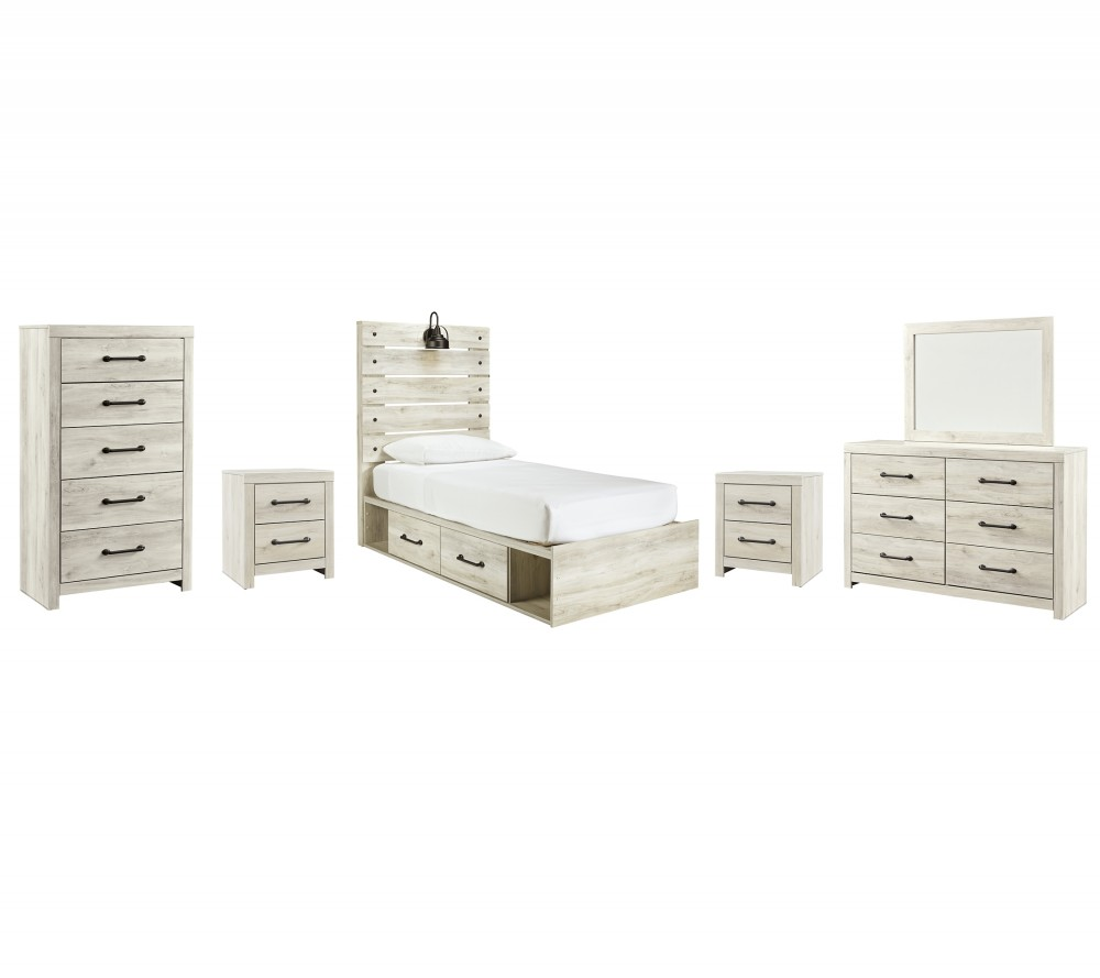 Cambeck - Twin Panel Bed with 4 Storage Drawers with Mirrored Dresser, Chest and 2 Nightstands