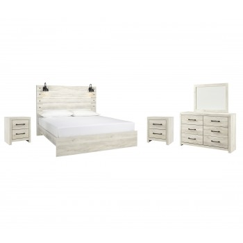 Cambeck - King Panel Bed with Mirrored Dresser and 2 Nightstands