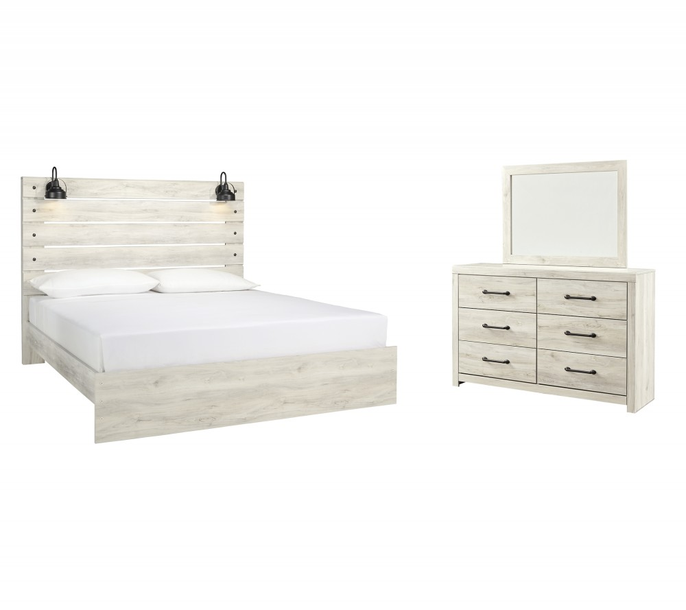 Cambeck - King Panel Bed with Mirrored Dresser