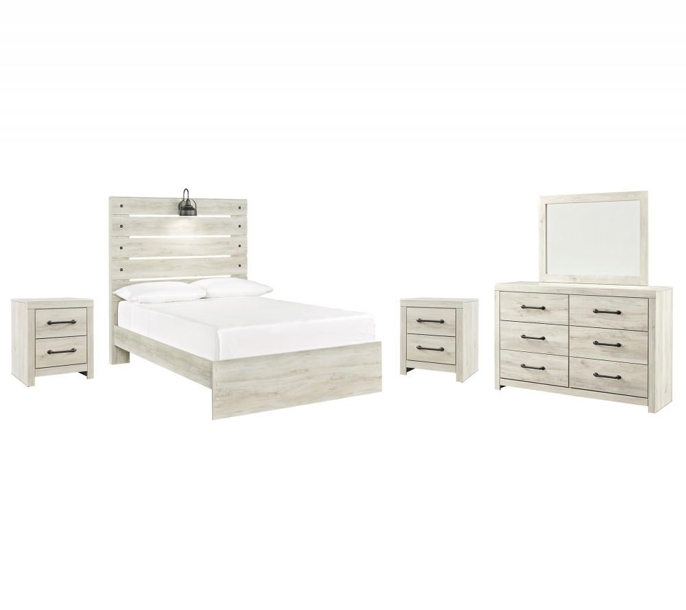 Cambeck - Full Panel Bed with Mirrored Dresser and 2 Nightstands