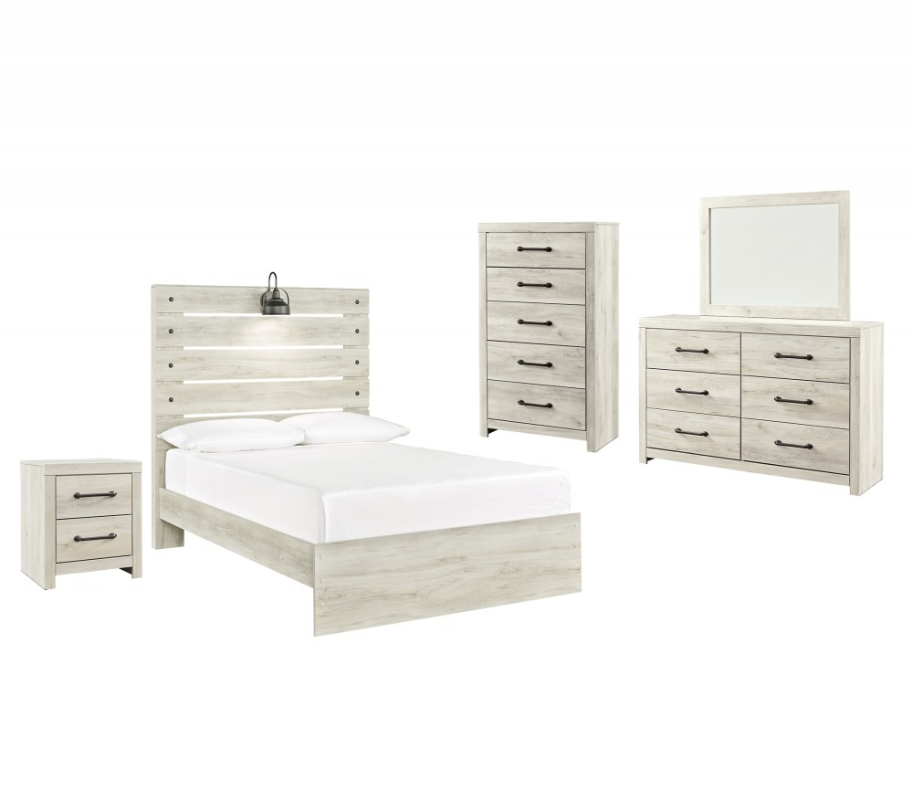 Cambeck - Full Panel Bed with Mirrored Dresser, Chest and Nightstand