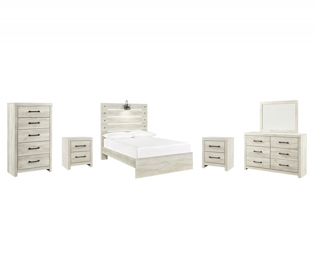 Cambeck - Full Panel Bed with Mirrored Dresser, Chest and 2 Nightstands