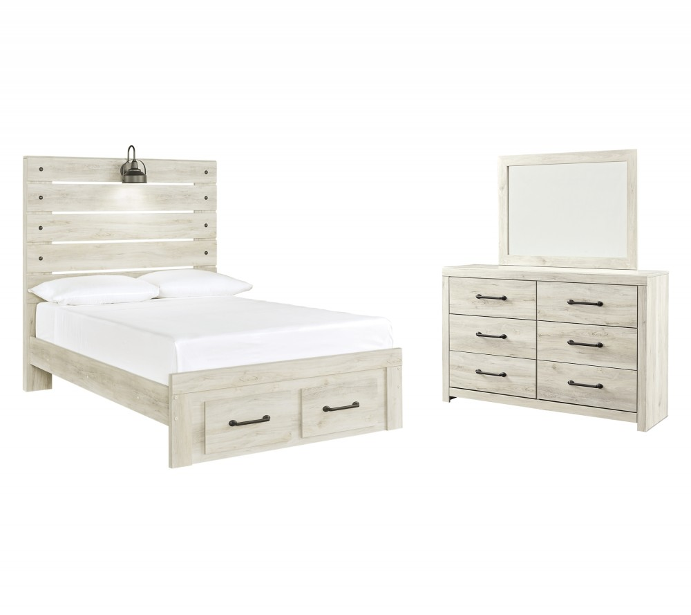 Cambeck - Full Panel Bed with 2 Storage Drawers with Mirrored Dresser