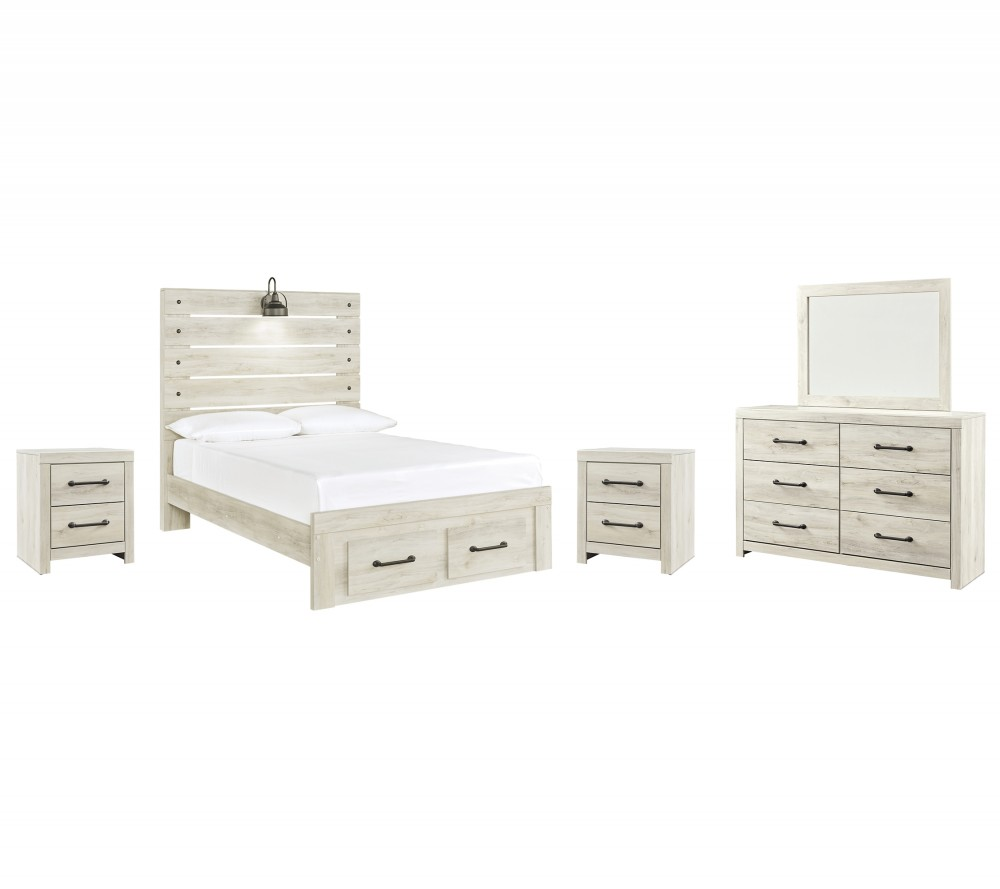 Cambeck - Full Panel Bed with 2 Storage Drawers with Mirrored Dresser and 2 Nightstands