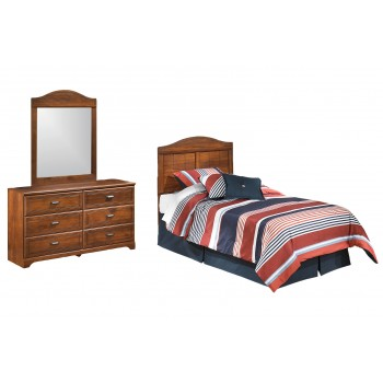 Barchan - Twin Panel Headboard with Mirrored Dresser