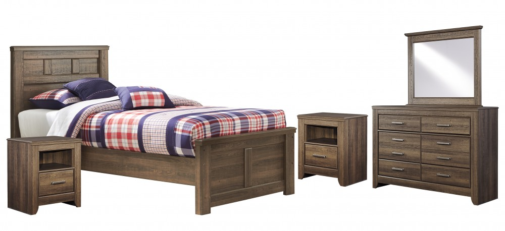 Juararo - Twin Panel Bed with Mirrored Dresser and 2 Nightstands