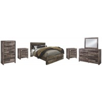 Derekson - Queen Panel Bed with 2 Storage Drawers with Mirrored Dresser, Chest and 2 Nightstands