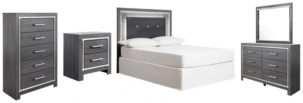 Lodanna - Full Upholstered Panel Headboard with Mirrored Dresser, Chest and Nightstand