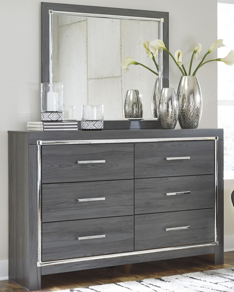 Lodanna - Full Upholstered Panel Headboard with Mirrored Dresser and Chest
