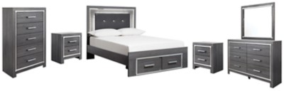 Lodanna - Full Panel Bed with 2 Storage Drawers with Mirrored Dresser, Chest and 2 Nightstands