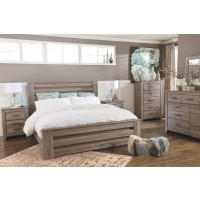 Zelen - King/California King Panel Headboard Bed with Mirrored Dresser and Chest