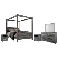 Baystorm - Queen Poster Bed with Mirrored Dresser and 2 Nightstands