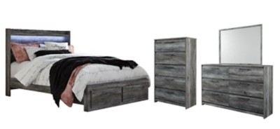 Baystorm - Queen Panel Bed with 2 Storage Drawers with Mirrored Dresser and Chest