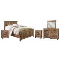 Blaneville - Queen Panel Bed with Mirrored Dresser and 2 Nightstands