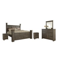 Juararo - King Poster Bed with 2 Storage Drawers with Mirrored Dresser and 2 Nightstands