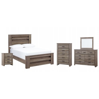 Zelen - Full Panel Bed with Mirrored Dresser, Chest and Nightstand