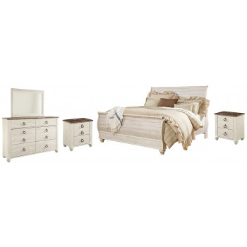 Willowton - King Sleigh Bed with Mirrored Dresser and 2 Nightstands