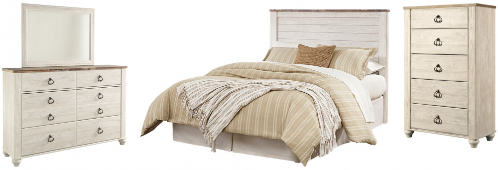 Willowton - Queen/Full Panel Headboard Bed with Mirrored Dresser and Chest