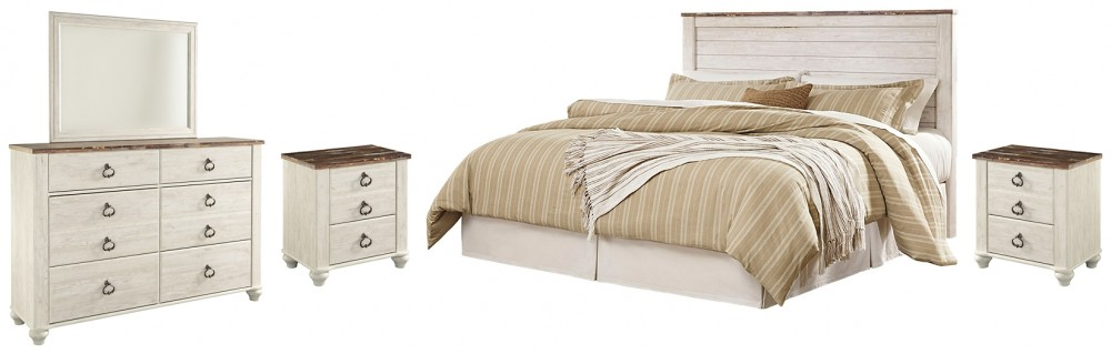 King/California King Bed with Mirrored Dresser and 2 Nightstands