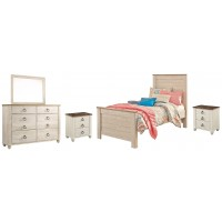 Willowton - Twin Panel Bed with Mirrored Dresser and 2 Nightstands